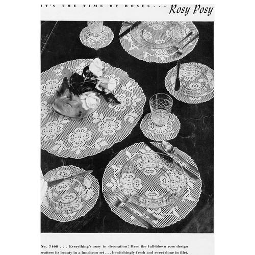 Rosy Posy Filet Crocheted Luncheon Set Pattern No 7408