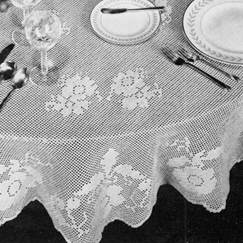 Filet Crocheted Tablecloth Pattern with Scalloped Edge
