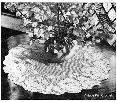 Roses in Bloom Filet Crochet Doily Pattern