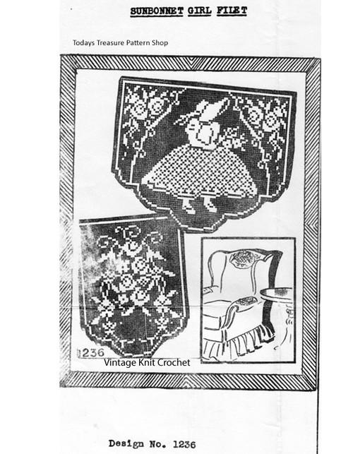Vintage Filet Crochet Sunbonnet Sue Pattern, Mail Order E-1238