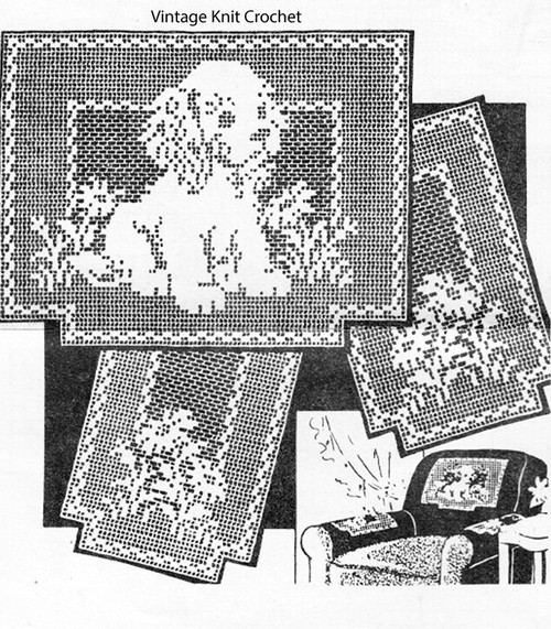 Vintage Filet Puppy Pattern, Chair Set, Peggy Roberts R2838