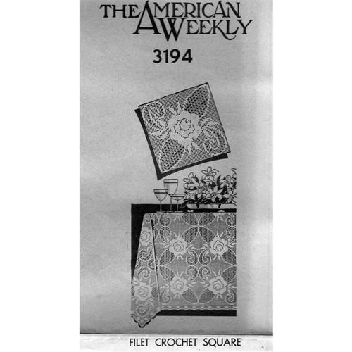 Rose Filet Crocheted Square Pattern