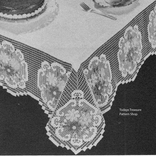 Filet Crocheted Linen Tablecloth Pattern