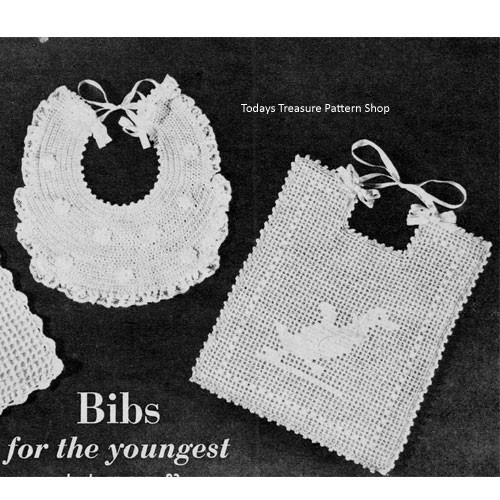 Vintage Duck Filet Crocheted Baby Bib Pattern