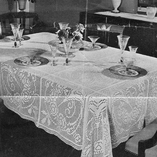 Vintage Filet Crocheted tablecloth pattern