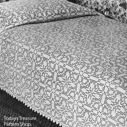 Ohio Farmhouse Bedspread Filet Crochet Pattern
