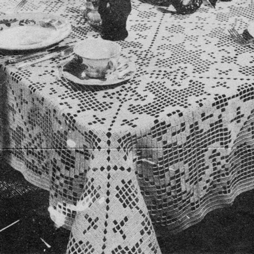 Vintage Square Block Filet Crochet Cloth Pattern