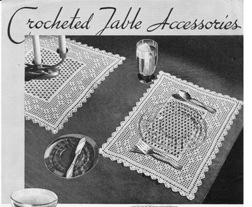 Vintage Crocheted Table Mats in Filet Crochet Pattern