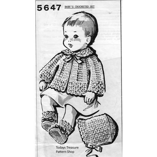Shell Jacket Crochet Baby Set Pattern No 5877