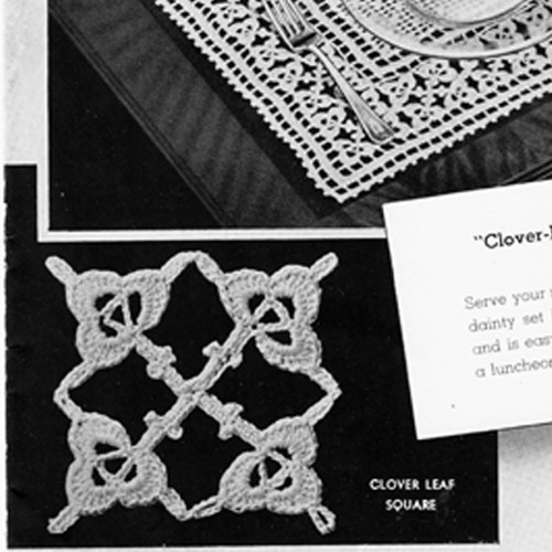 Clover Leaf Filet Crocheted Luncheon Set Pattern