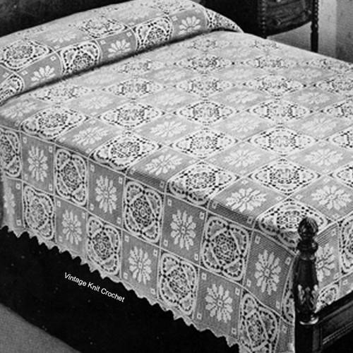 Filet Crochet Bedspread Pattern, Flower Leaf Blocks