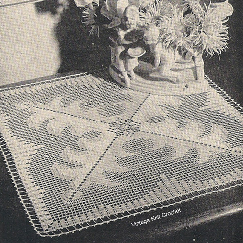 Filet Crochet Centerpiece Doily pattern, square, shadow filet