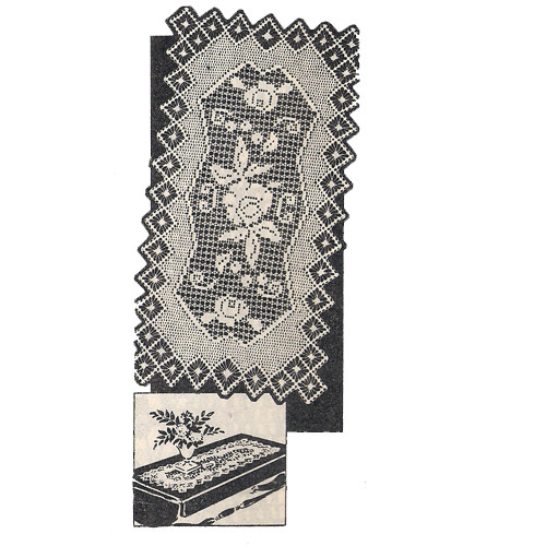 Long Rose Runner Filet Crochet Pattern