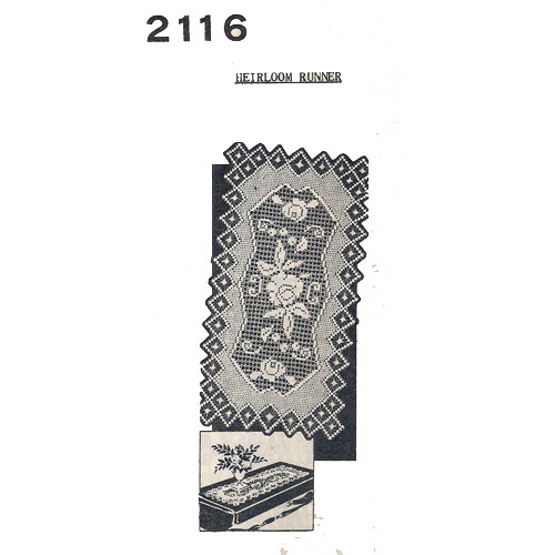 Large Rose Filet Crocheted Runner Pattern No 2116