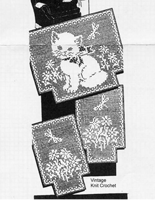 Filet crochet chair set pattern, Kitten in flowers, Mail Order 5741