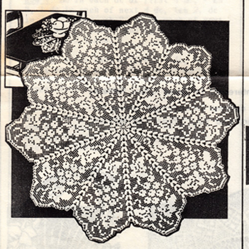 Grape Filet Crochet Doily Mail Order Pattern 2086