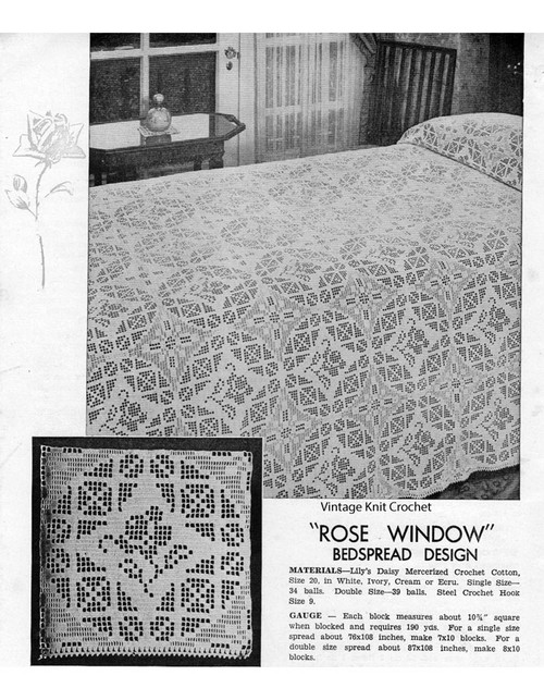 Large Filet Crochet Square Blocks Pattern, Vintage 1935