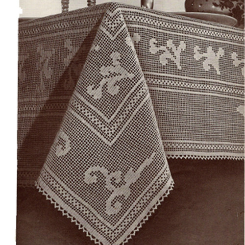 Elegant Vintage Filet Crocheted Tablecloth Pattern