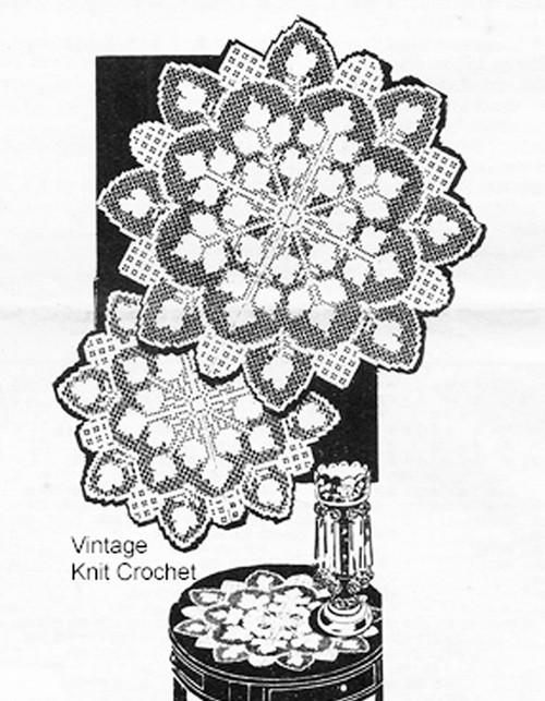 Large Filet Crocheted Doilies Pattern, Alice Brooks 7101