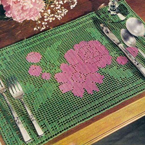 Vintage Pink Green Mats Filet Crochet Pattern