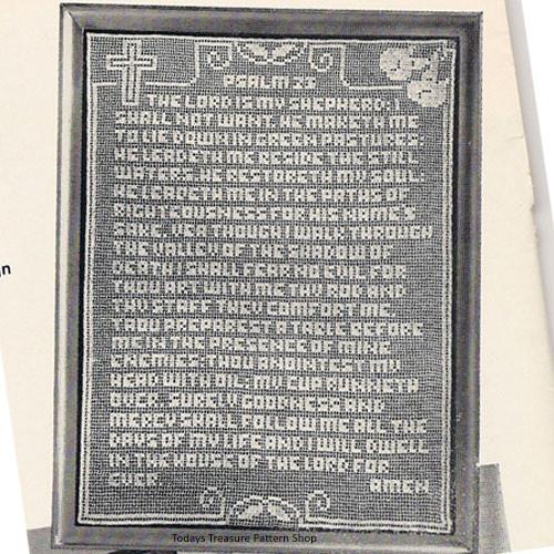 23rd Psalms Wallhanging Pattern in Filet Crochet