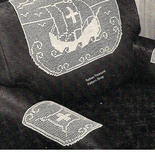 Filet Crochet Viking Ship Chair Set Pattern