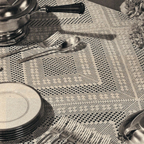 Vintage 1940's filet crocheted tablecloth pattern