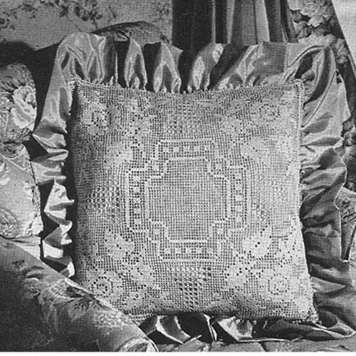 Filet Crochet Pillow Pattern, Rose Motif