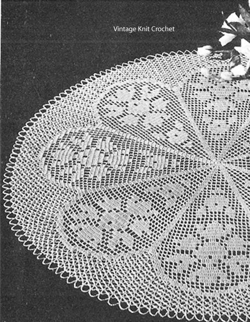 Rose Filet Crochet Doily Pattern 20 inch centerpiece