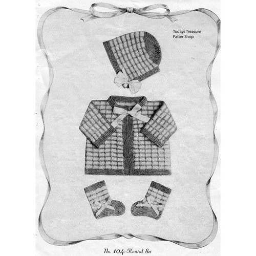 Plaid Baby Set Knitting Patterrn
