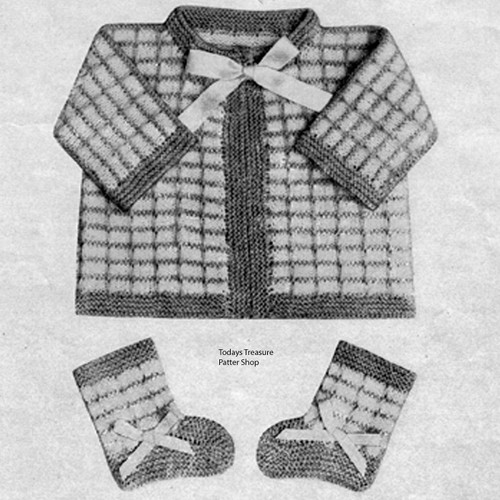 Vintage Checked Knitted Baby Set Pattern
