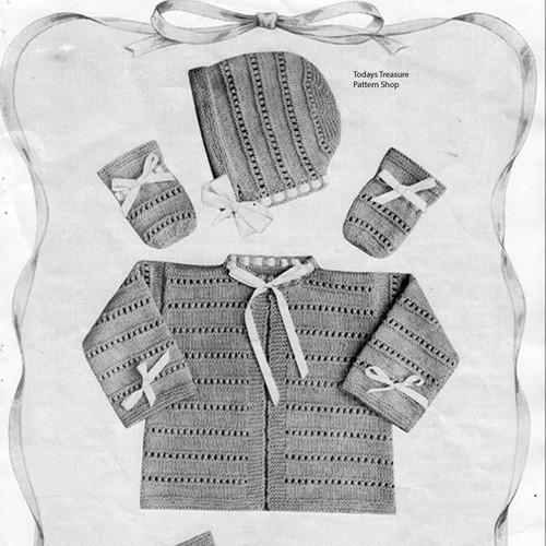 Baby Knit Jacket Cap Pattern Vintage 1950s
