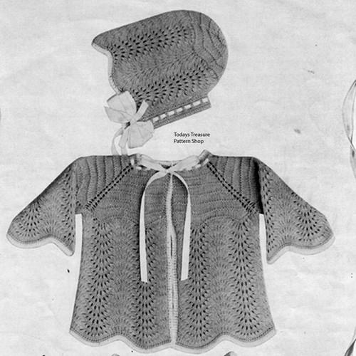 Knitting Pattern Feather Stitch Baby Jacket