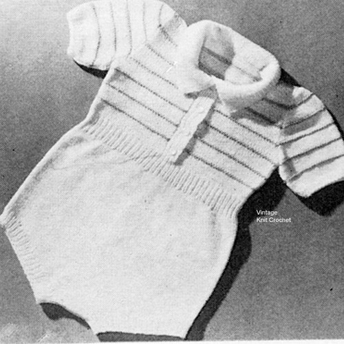 Knitted Short Sleeve Baby Romper Pattern