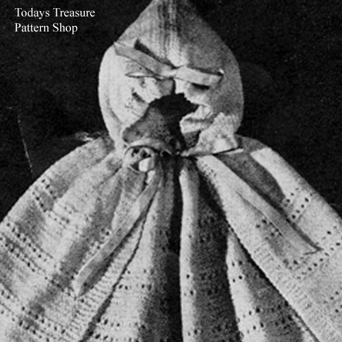 Baby Knitting Pattern for Hooded Cape