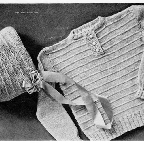 Knitted Baby Sweater and Bonnet Pattern