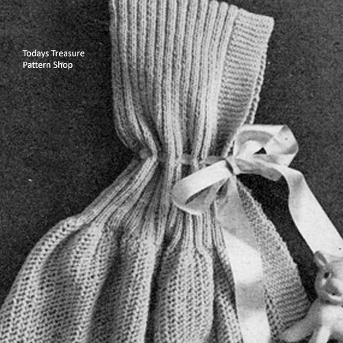 Knitting Pattern for Baby Bunting with Open Bottom