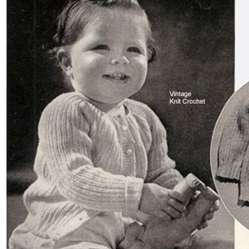 Knitted Baby Cardigan Pattern, Vintage 1940s