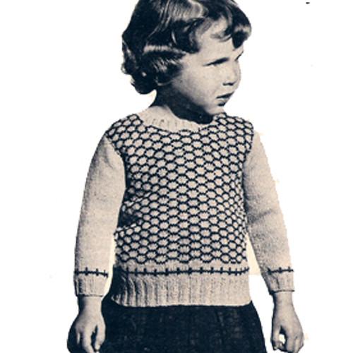 Little Girls Knit Honeycomb Stitch Sweater Pattern