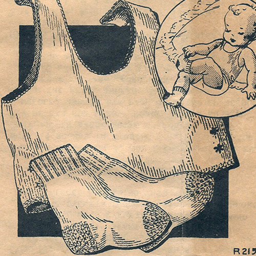 Vintage 1930s Knitting Pattern for Baby Undershirt and Socks