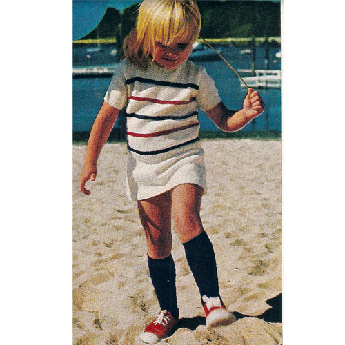 Toddler Striped Top Skirt Knitting Pattern
