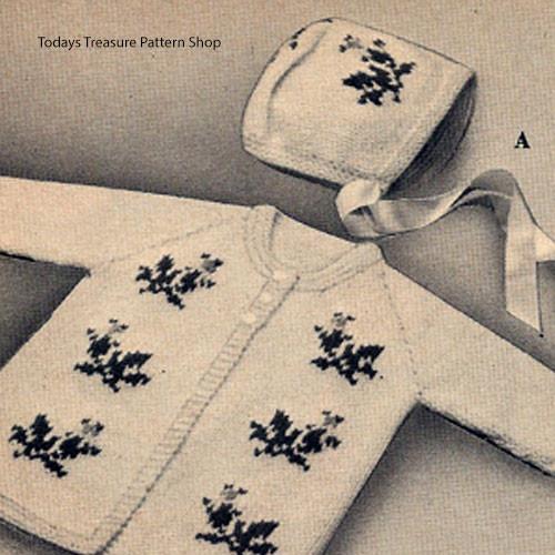 Rosebud Knitted Baby Jacket Bonnet Pattern Set