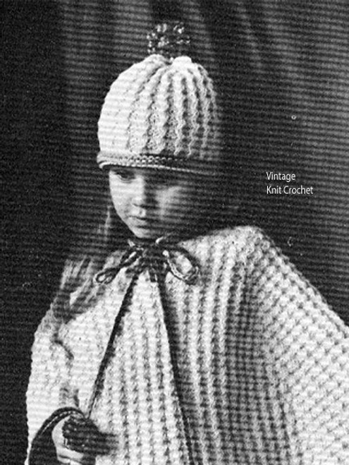 Girls Ponco knitting pattern with Hat