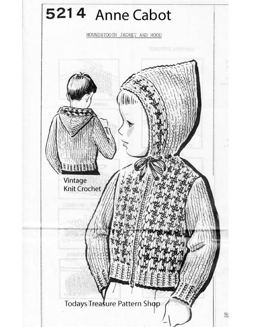Boy Knitted Jacket Pattern, Hooded, Mail Order 5214