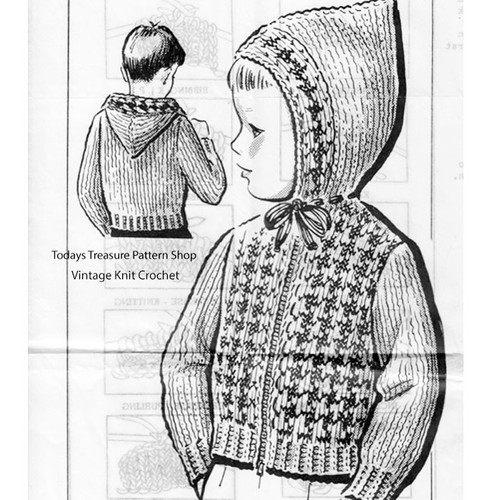 Kids Hooded Jacket Knitting Pattern, Anne Cabot 5214