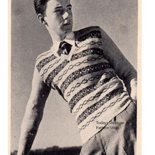 Teen Fair Isle Knitted Pullover Pattern, Vintage 1950s