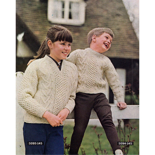 Girls Popcorn Stitch Pullover Knitting Pattern