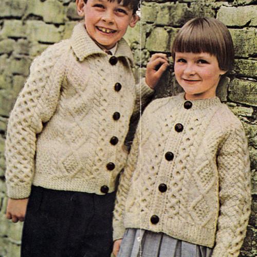 Kids Vintage Cardigan Knitting Pattern in Diamond Motif