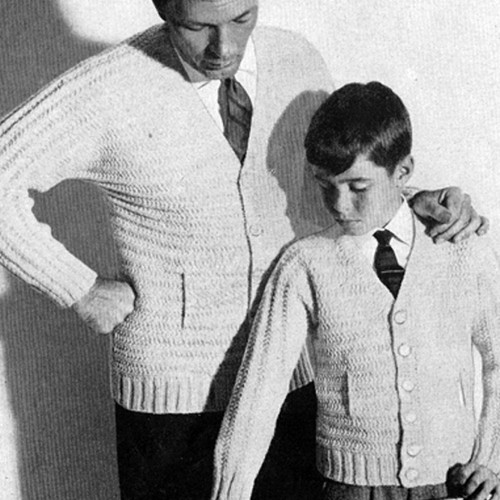 Vintage Knitted Cardigans for Father Son