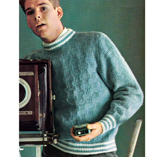Striped Bands Cable Knitted Pullover Pattern